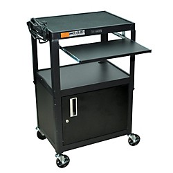 H. Wilson Adjustable Height  Cart with Keyboard Tray and Locking Cabinet (AVJ42KBC)