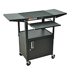 H. Wilson Adjustable Height Cart with Keyboard Tray, Locking Cabinet and Drop Leaf Shelves (AVJ42KBCDL)