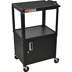 "H. Wilson Metal 26"" to 42"" 3 Shelf Cart/Cabinet (W42Ace Black)"