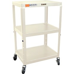"H. Wilson Metal 26"" to 42"" 3 Shelf Cart (W42AE PUTTY)"