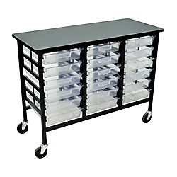 H. Wilson Mobile Workstation/ Storage Unit with 18 Single Storage Trays (C123S18-Clear)