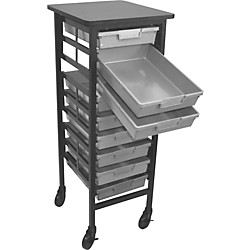 H. Wilson Mobile Workstation/ Storage Unit with 9 Single Storage Trays (CT121S9-Light Gray)