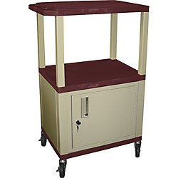 "H. Wilson Tuffy Plastic 42"" 3-Shelf Cart/Cabinet (Wt42C(3)E Burgundy)"