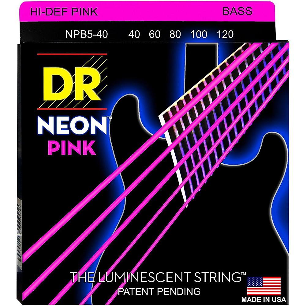 DR Strings NEON Hi-Def Pink Bass SuperStrings Light 5-String