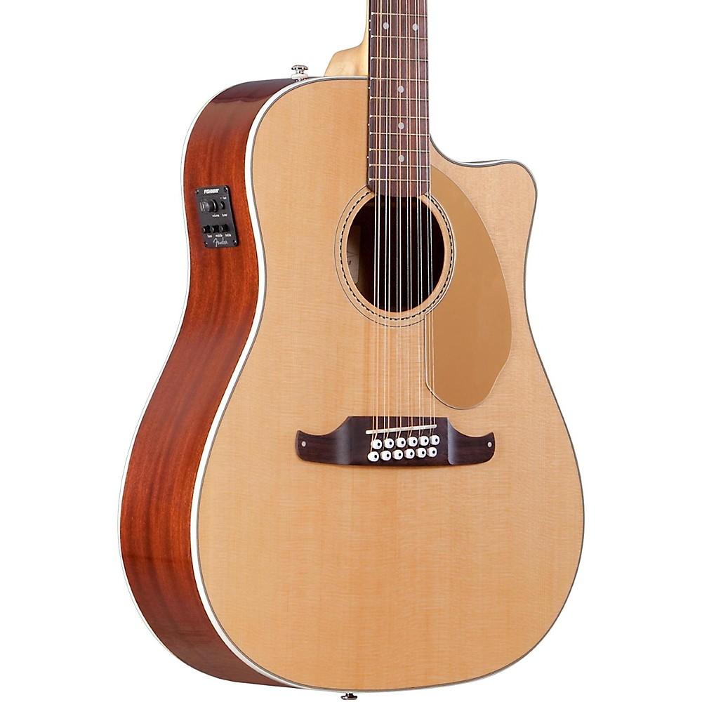 FENDER Villager SCE Solid Top 12-String Acoustic Electric Guitar Natural