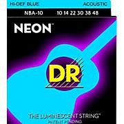 DR Strings Hi-Def NEON Blue Coated Lite Acoustic Guitar Strings (10-48)
