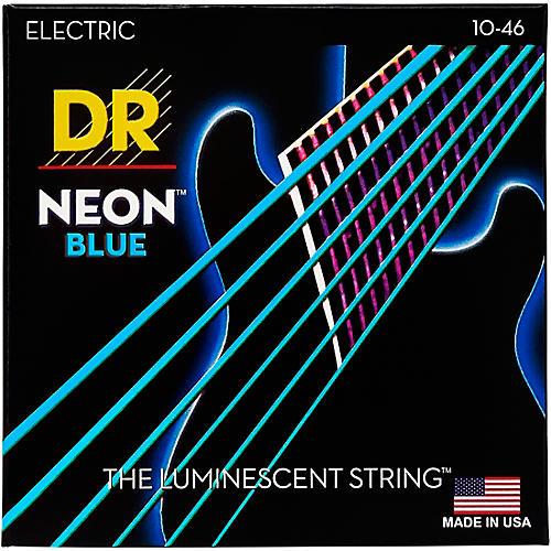 DR Strings Hi-Def NEON Blue Coated Medium (10-46) Electric Guitar Strings-thumbnail