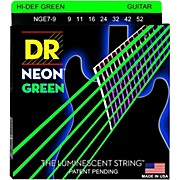 DR Strings Hi-Def NEON Green Coated Lite 7-String Electric Guitar Strings (9-52)