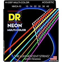 DR Strings Hi-Def NEON Multi-Color Coated Lite Acoustic Guitar Strings