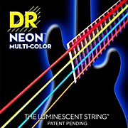 DR Strings Hi-Def NEON Multi-Color Coated Medium 6-String Bass Strings