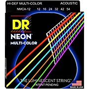 DR Strings Hi-Def NEON Multi-Color Coated Medium Acoustic Guitar Strings