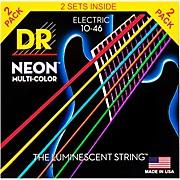 DR Strings Hi-Def NEON Multi-Color Medium Electric Guitar Strings (10-46) 2 Pack