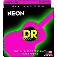 DR Strings Hi-Def NEON Pink Coated Acoustic Guitar Strings Lite (10-48)
