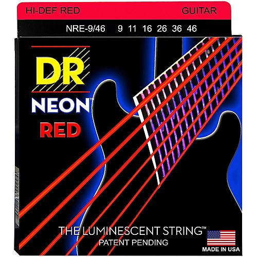 DR Strings Hi-Def NEON Red Coated Lite-Heavy (9-46) Electric Guitar Strings-thumbnail