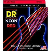 DR Strings Hi-Def NEON Red Coated Medium 6-String Bass Strings (30-125)