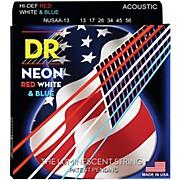 DR Strings Hi-Def NEON Red, White & Blue Acoustic Guitar Medium-Heavy Strings