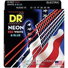 DR Strings Hi-Def NEON Red, White & Blue Electric Guitar Medium Strings