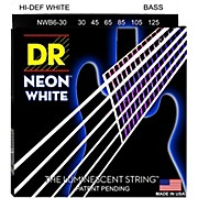 DR Strings Hi-Def NEON White Coated Medium 6-String Bass Strings