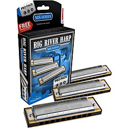 Hohner 590 Big River Harp Pro Pack - MS-Series Harmonicas (3P590BX)