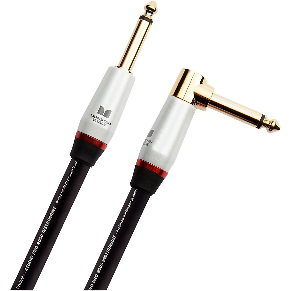 Monster Cable Studio Pro 2000 1/4 Inch Angled to Straight Instrument Cable 21 Foot