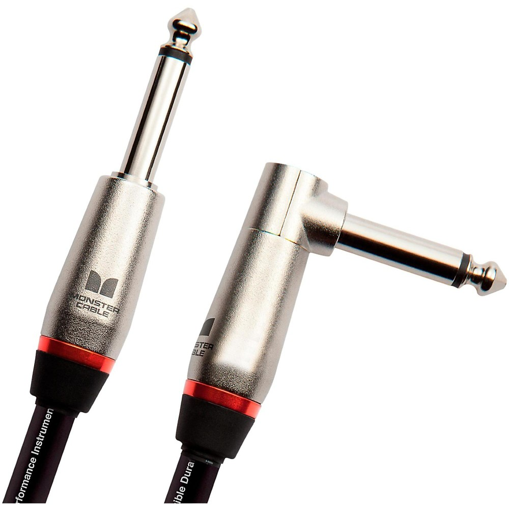 """Monster Cable Performer 600 1/4"""" Angled to Straight Instrument Cable 8 Inch"""