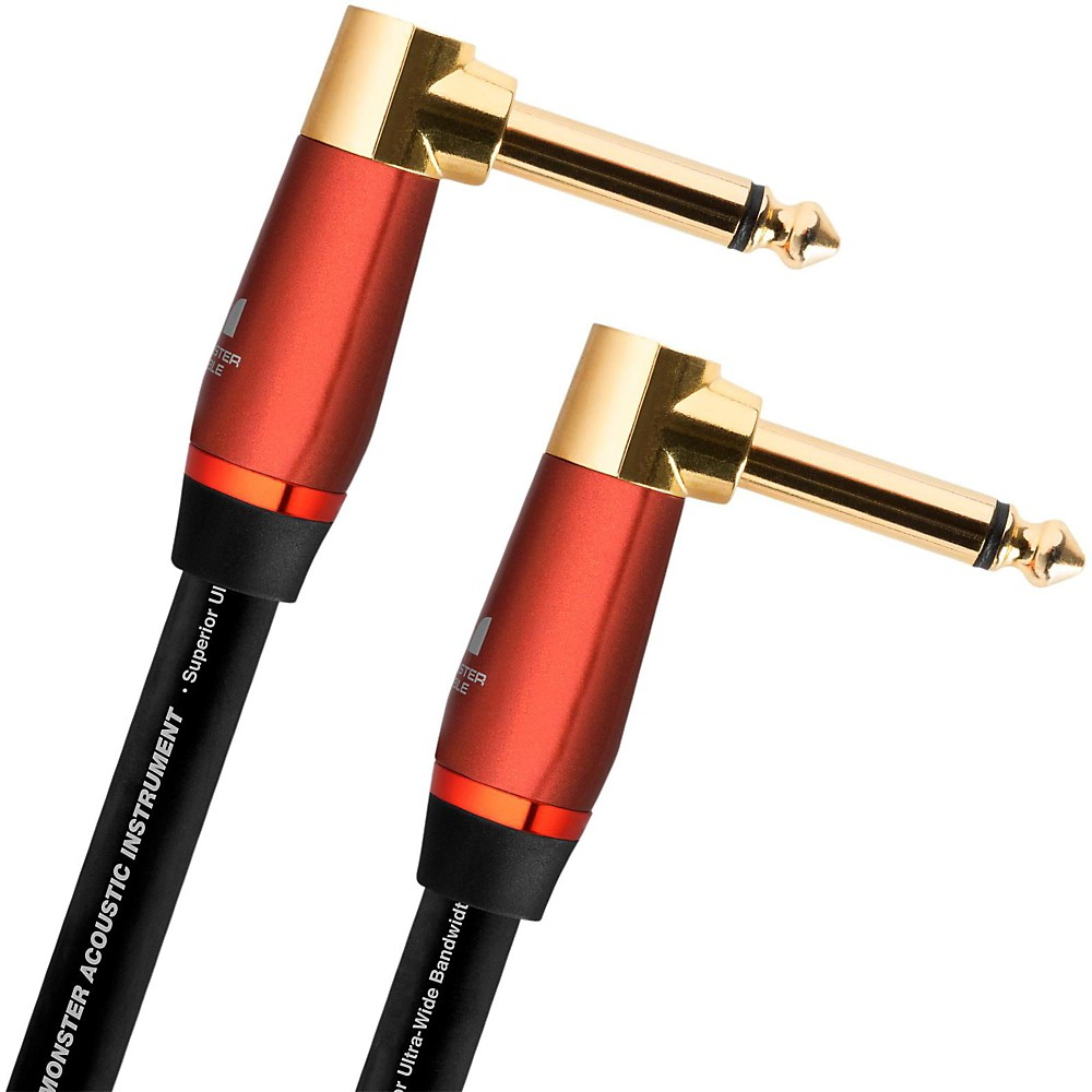 """Monster Cable Acoustic 1/4"""" Dual Angledà Instrument Cable 8 Inch"""