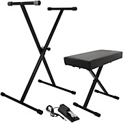 On-Stage Stands KPK6550 Keyboard Stand/Bench Pack with KSP100 Sustain Pedal