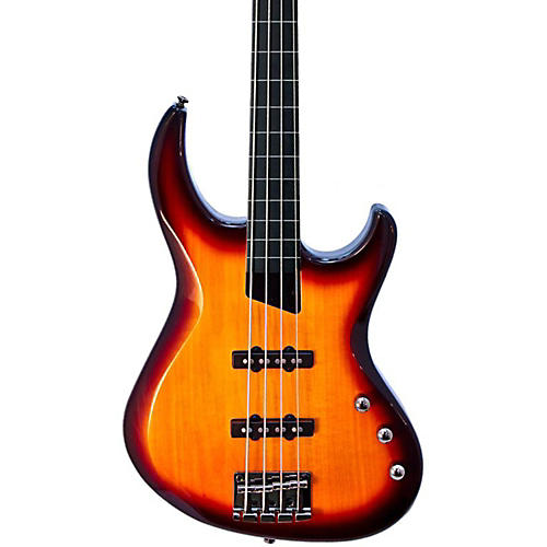 MTD Kingston Saratoga 4-String Fretless Electric Bass Guitar Tobacco Sunburst Ebony Fingerboard