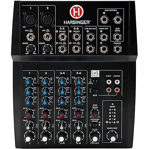 Harbinger L802 8-Channel Mixer with 2 XLR Mic Preamps-thumbnail