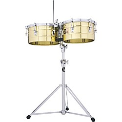 "LP LP256-B Tito Puente 13"" and 14"" Brass Timbales with Stand (LP256-B)"