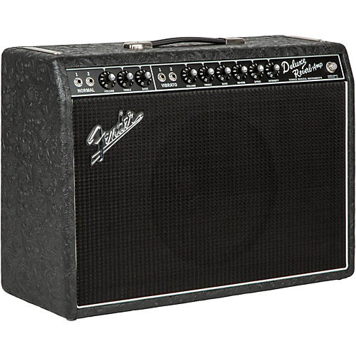 Fender Limited Edition '65 Deluxe Reverb 22W Tube Guitar Combo Amp Black Western-thumbnail