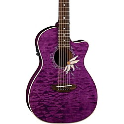 Luna Guitars Flora Series Passionflower Parlor Cutaway Acoustic-Electric Guitar (FLO PF QM)