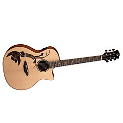Luna Guitars Oracle Folk Series Phoenix Cutaway Acoustic-Electric Guitar (USED004001 OCL PHX CE)