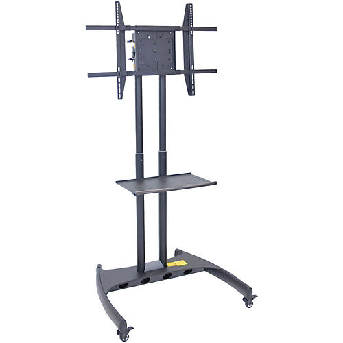 H. Wilson Luxor Adjustable Flat Panel Cart with Shelf and Rotating Mount-thumbnail