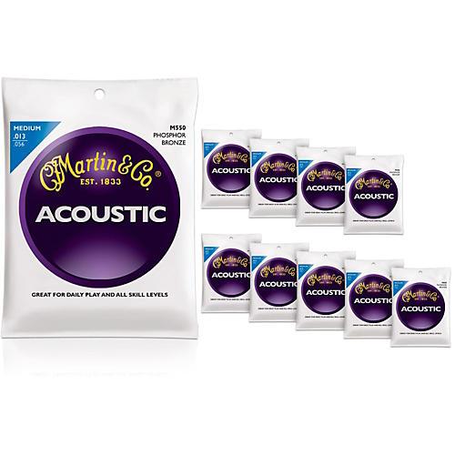 Martin M550 Phosphor Bronze Medium 10-Pack Acoustic Guitar Strings