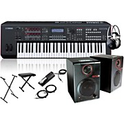 Yamaha MOXF6 61-Key Semi-Weighted Synth with RPM3 Monitors, Stand, Headphones, Bench, and Sustain Pedal