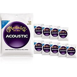 Martin M150 80/20 Bronze Round Wound Medium Acoustic Strings 10-Pack (KIT772456)