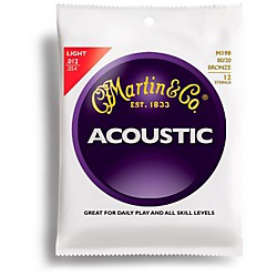 Martin M190 12-String 80/20 Bronze Light Acoustic Guitar Strings (41M190)