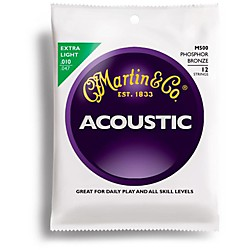 Martin M500 12-StGring Phosphor Bronze Extra Light Acoustic Guitar Strings (41M500)