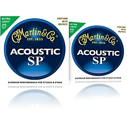 Martin MSP3000 SP Bronze Extra Light Acoustic Guitar Strings 2 Pack (MPS3000-2PK)