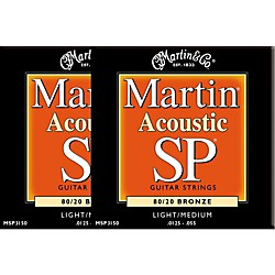 Martin MSP3150 SP Bronze Light/Medium Acoustic Guitar Strings (2 Pack) (MSP3150-2PK)