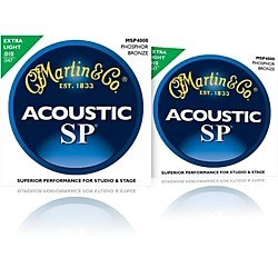 Martin MSP4000 SP Phosphor Bronze Extra Light Acoustic Guitar Strings 2 Pack (MSP4000-2PK)