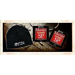 Martin MSP4100 Phosphor Bronze Light Acoustic Strings 2 Pack-with FREE Martin Logo Knit Hat (41MSPPACK0017)