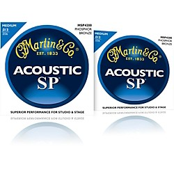 Martin MSP4200 Phosphor Bronze Medium Acoustic Guitar Strings (2 Pack) (MSP4200-2PK)