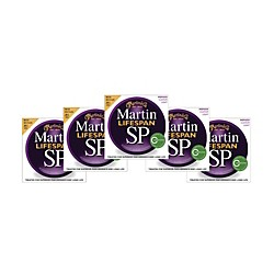 Martin SP 6050 80/20 Bronze Lifespan Coated Acoustic Strings Custom Light Regular (5 Pack) (6050 5PK KIT)
