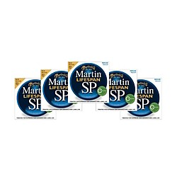 Martin SP 6200 80/20 Bronze Lifespan Coated Acoustic Strings Medium Regular (5 Pack) (6200 5PK KIT)
