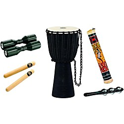 Meinl Rope Tuned Djembe Hand Percussion Set with Free Shaker and Jingle Stick (HDS-1)