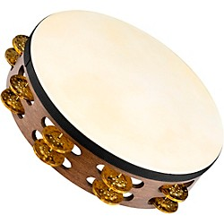 Meinl Vintage Goat-Skin Wood Tambourine Two Rows Brass Jingles (TAH2V-WB)