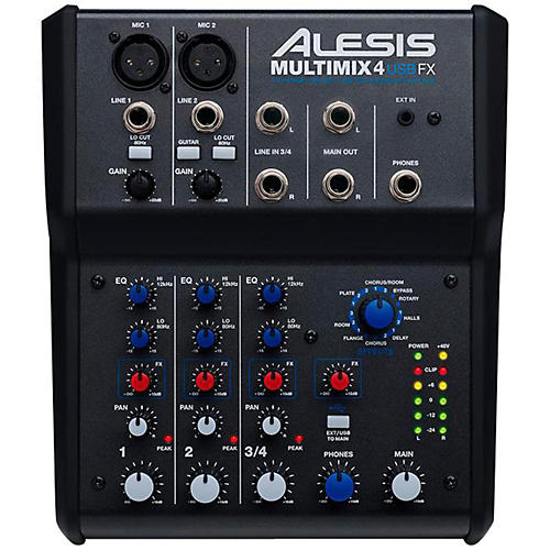 Alesis MultiMix 4 USB FX 4-Channel Mixer with Effects & USB Audio Interface-thumbnail