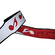 "Jodi Head Music Note Leather 3"" Wide White / Red Guitar Strap"